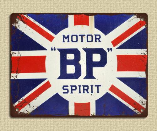 metal sign plaque vintage retro style BP spirit union jack workshop mancave