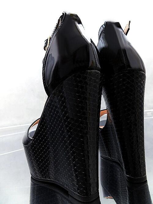 NEU HOHE LACK SCHWARZ WEDGE Sandalen Plateau Damen P70 Pumps Schuhe High Heel 37