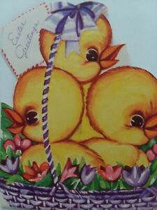 1940-50s-Baby-CHICKS-in-Purple-EASTER-Basket-Embossed-Vtg-GREETING-CARD
