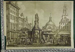 1753 Datato Grande Antico London Stampa ~ Vista Di Scorte Mercato Trade
