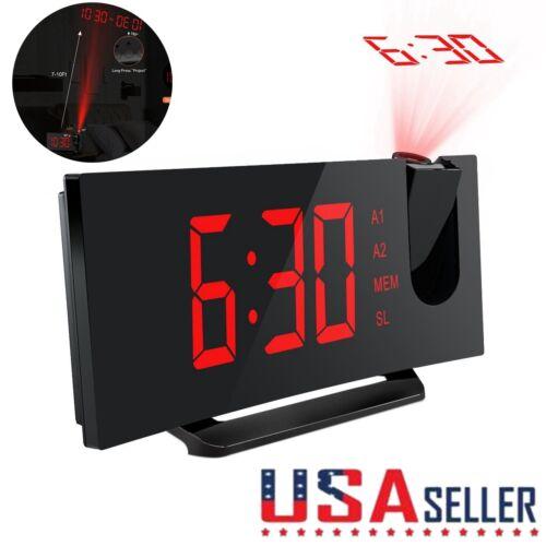 Projection FM Radio Digital Alarm Clock Dual Alarm with USB Charging Port Red