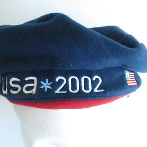 f8e6b86a78 Roots Canada Beret Hat USA Olympics 2002 Fleece Red White Blue Flag ...