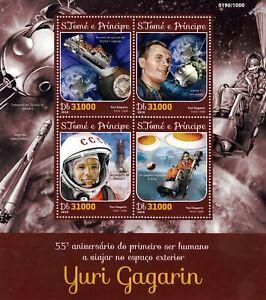 Comonaut Gagarine Premier Homme Dans L'espace Timbre Feuille (2016, Sao Tomé-et-principe)-afficher Le Titre D'origine Moderne Et EléGant à La Mode
