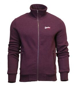Superdry-Mens-Orange-Label-Full-Zip-Track-Top-Sweatshirt-Long-Sleeve-Burgundy