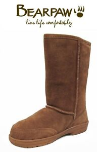 Bearpaw Meadow Chocolate Brown Suede Fur Lined Mid Calf Snow Winter Boots