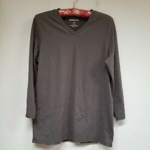 Pendleton Women's Cotton Blend V-Neck Brown Long Sleeve Tunic Top Sz Medium. EUC
