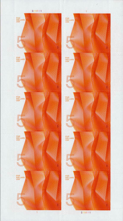 2012 $5 Waves of Color, Contemporary, Pane of 10 Scott