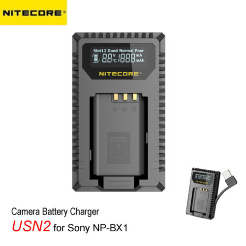 NITECORE USN2 2-Slot Compact USB Digital Camera Charger for Sony NP-BX1 Battery