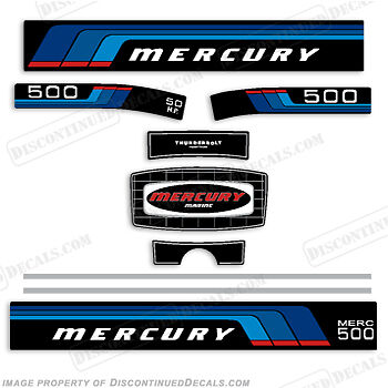 Discontinued Decal Reproductions! Mercury 1976-1977 50hp Outboard Decal Kit