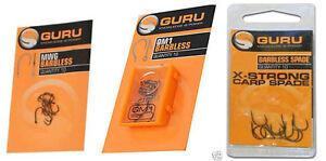 Guru-Coarse-amp-Carp-Hooks-MWG-QM1-X-Srong-Carp-Spade-Barbless-All-Sizes