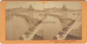 Suisse Lucerna Luzern Foto J.Andrieu Stereo Vintage Albumina Ca 1868