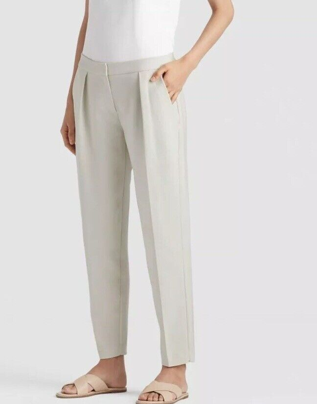 Nwt Eileen Fisher  258 Bone Drapey Tencel Stretch Ankle Pants 8