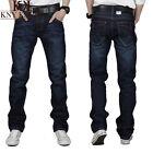 New Men's Black Denim Pants Stylish Slim Straight Cotton Casual Jeans Trousers