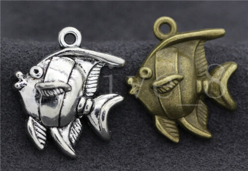 Lot 6//20//100pcs Antique Silver Lovely Deep sea fish Charms Pendant DIY 25x22mm