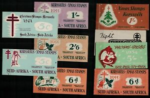 South-Africa-1952-62-range-of-complete-Christmas-stamp-booklets-with-cha-Stamps