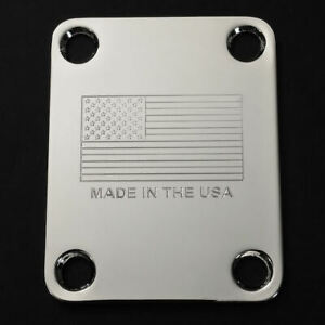Graviert-geaetzt-Guitar-Neck-Plate-Fender-Groesse-Amerikanische-Flagge-Made-in-USA-Chrom