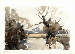 FRED-MARSHALLSAY-Watercolour-Painting-THE-FROME-RIVER-1973