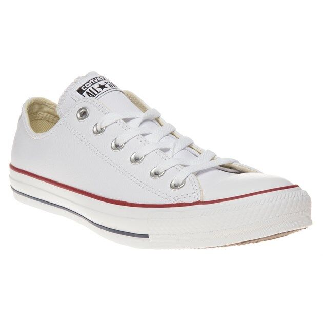 New Mens Converse White All Star Ox Leather Trainers Plimsolls Lace Up