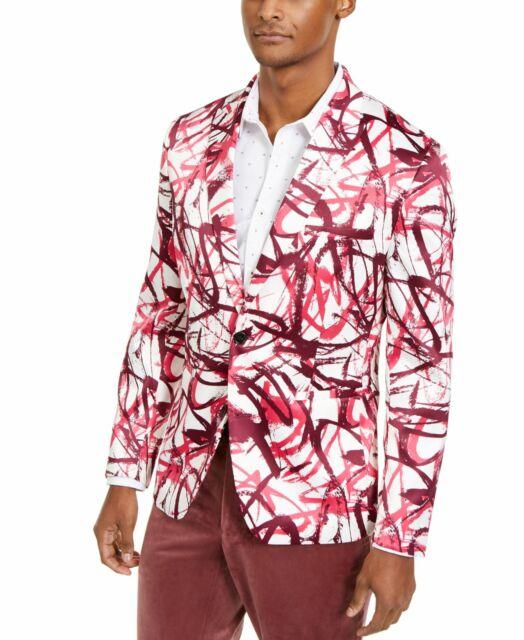 INC Mens Sport Coat Pink Size Large L Abstract Print Slim Fit Scuba $149- #274