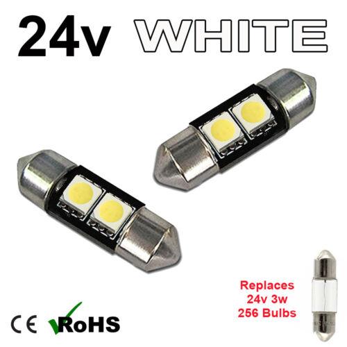 2 x White 24v 31mm Festoon Interior Plate Light 256 2 SMD SV7-8 Bulbs HGV Truck