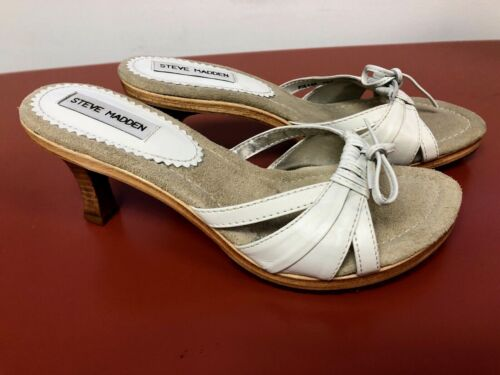 """Steve Madden """"Picaso"""" White Low Wooden Heel With B"""