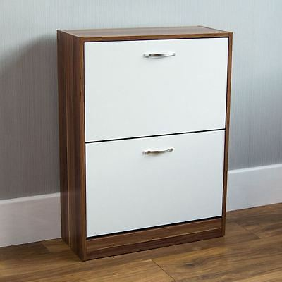 2 Drawer Shoe Cabinet Storage Cupboard Footwear Stand Rack Wooden Walnut White