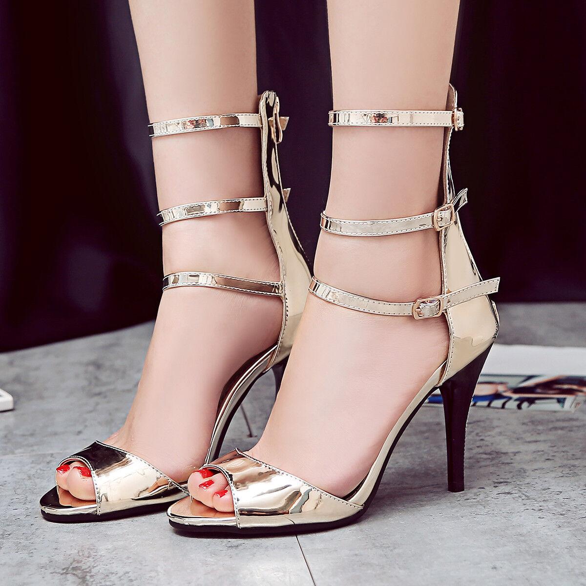Women High Gladiator Roman Sandals Plus Size Strappy High Women Heels Stilettos Pumps shoes 7529c6
