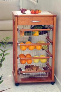 House carrello cucina salva spazio legno massello ciliegio piano con mattonella ebay - Piano cucina legno massello ...