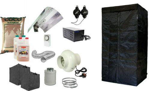 Complete Hydroponic Grow Room Tent Fan HPS Light Kit 600 watt 0.8m2 Canna CoCo