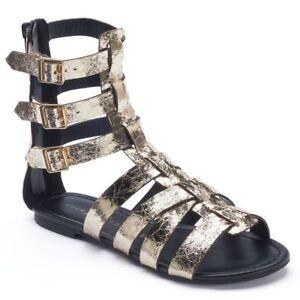 89a3a27e754b Details about ROCK   REPUBLIC Lunar Women s Gold Black Gladiator Sandals  Zipper Back Sz 6.5