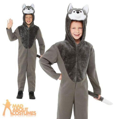 Kids Wolf Costume Animal Childs Big Bad Book Week Day Boys Fancy Dress Outfit