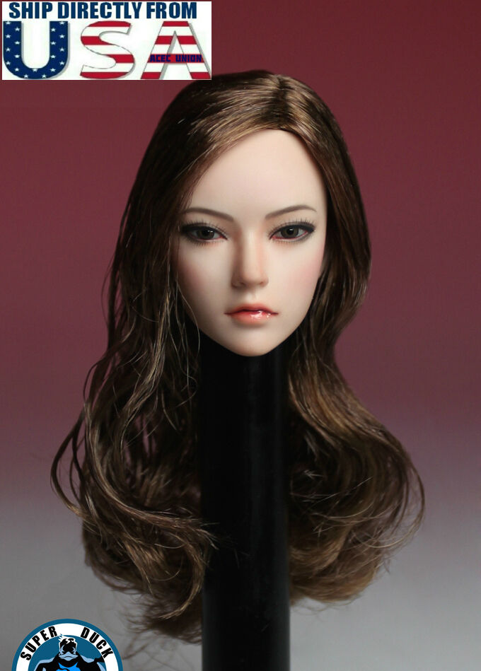 1 6 Female Head Sculpt LONG BROWN HAIR For TBLeague Phicen PALE Figure U.S.A.