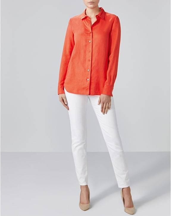 BNWT Pure Collection Camicia Di Lino-Corallo Lino-Corallo Lino-Corallo caldo-misure RRP 88d0ae