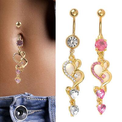 Rhinestone Body Piercing Dangle Crystal Navel Belly Button Bar Barbell Rings TEC