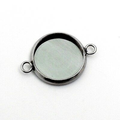 15 x Stainless Steel Cabochon Round Bezel Frame Connector Settings - Silver Tone