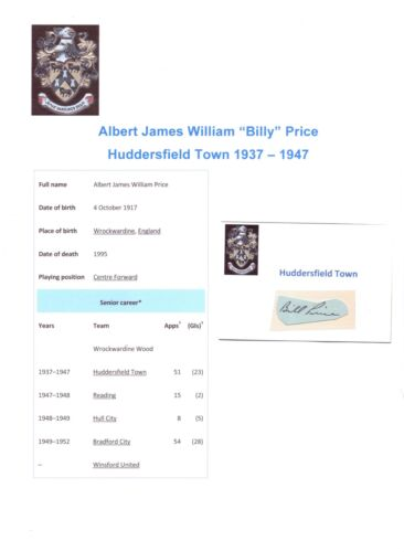 BILLY PRICE HUDDERSFIELD TOWN 19371947 RARE ORIGINAL HAND SIGNED CUTTINGCARD