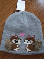 H & M Gray Sparkle Squirrel Heart Lined Winter Hat 1.5-4 Yrs