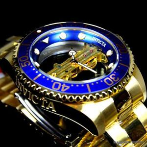 Invicta-Pro-Diver-Ghost-Bridge-Mechanical-Gold-Plated-Skeleton-Blue-Watch-New