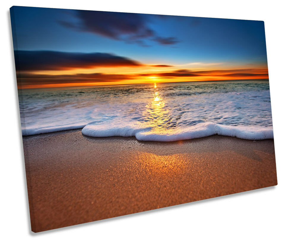Sunset Beach Surf Wave Sand CANVAS WALL ART Picture Print Single