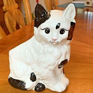 Vintage Ceramic Porcelain Black & White Cat Kitten Figurine Planter Collectible