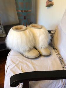 c5fc6a0e79 UGG Australia short cuff mongolian fur Lida booties tan natural size ...