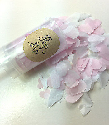 Push Pop Biodegradable Confetti Pink  /& White Hearts Vintage Handemade slow fall