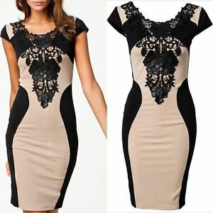 Sexy-Women-039-s-Lace-Short-Sleeve-Bodycon-Dress-Cocktail-Evening-New-Elegant