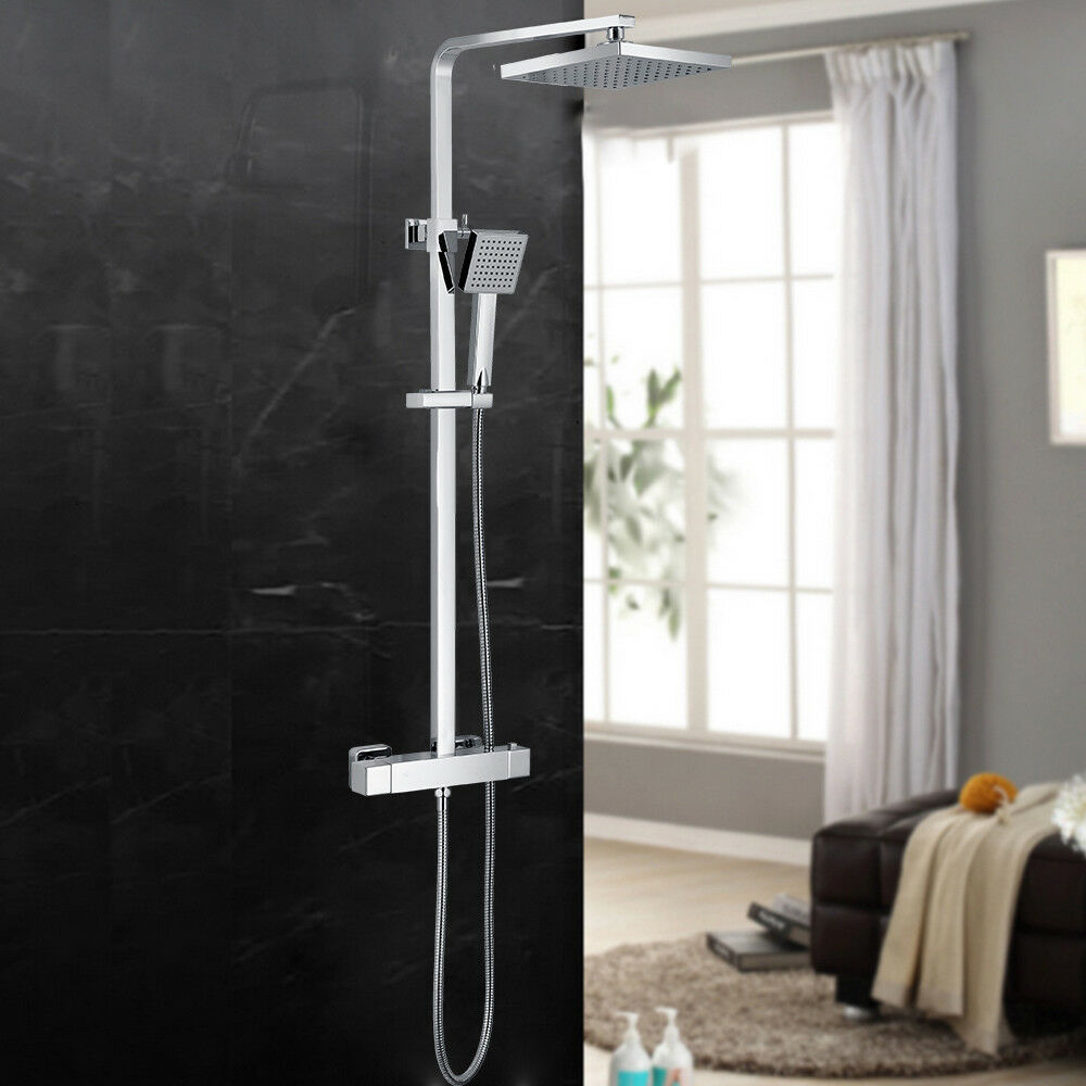 8   Sistema Soffione Manopola Termostato rubinetteria doccia Set +soffione