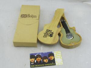 NEW-Vintage-Beatles-Apple-Corps-Wrist-Watch-in-Wooden-Guitar-Case-Needs-Battery