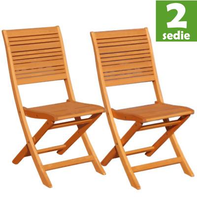 Sedia california in legno eucalipto da esterno senza braccioli 2 pezzi | eBay