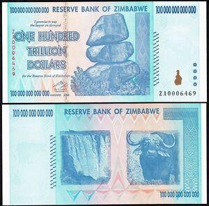 Image Is Loading Zimbabwe 100 Trillion Dollars 2008 P 91 Unc