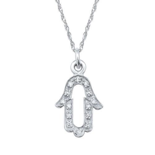 10k White Gold Open Hamsa Diamond Necklace