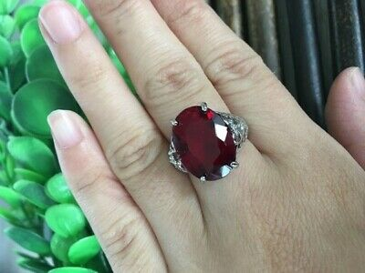 Alexandrite 925 Solid Sterling Silver Art Deco Ring Steinfarbe Rot Sz 9