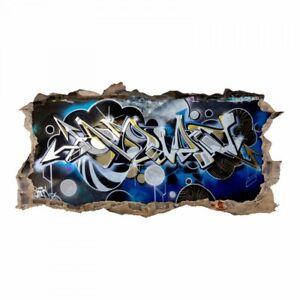 148 Wandtattoo Graffiti Blau Grau Loch In Der Wand Spray Teenager Wandbild Ebay